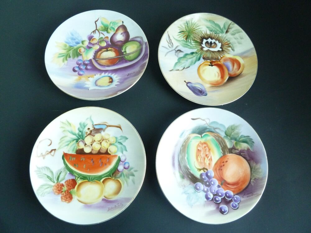Ucagco 4 different china hand painted japan signed for Decoration plates