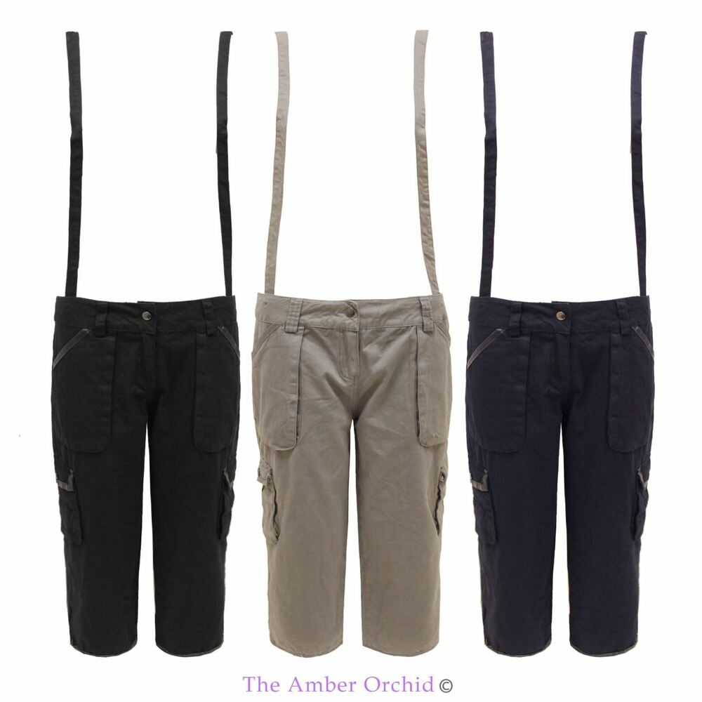 New Womens Dungaree 3/4 Capri Ladies Cargo Pants Short ...