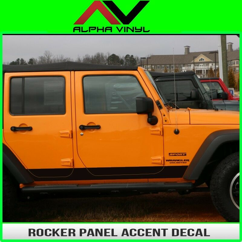Jeep Wrangler Hard Top Removal >> Rocker Panel Accent Decal Fits: 4 door Jeep Wrangler JK 07-16 Matte Black | eBay