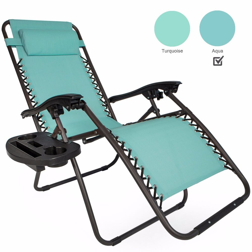 1 Pair Black Blue Tan Zero Gravity Lounge Chairs Recliner