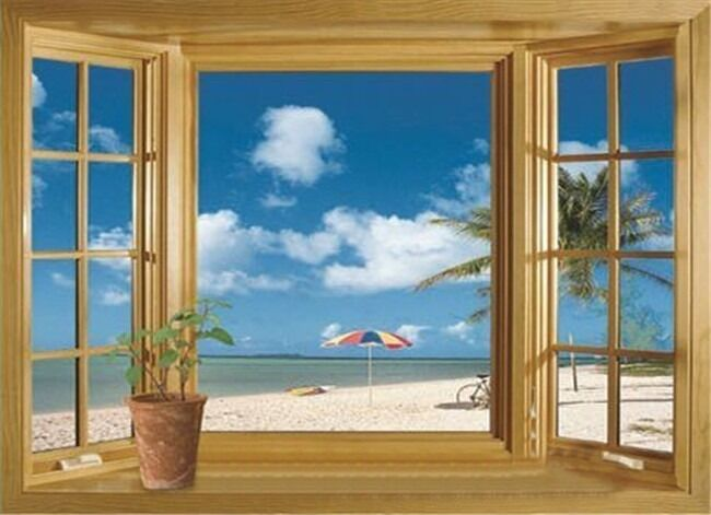 3d beach window view removable wall stickers vinyl decal for Door mural decals