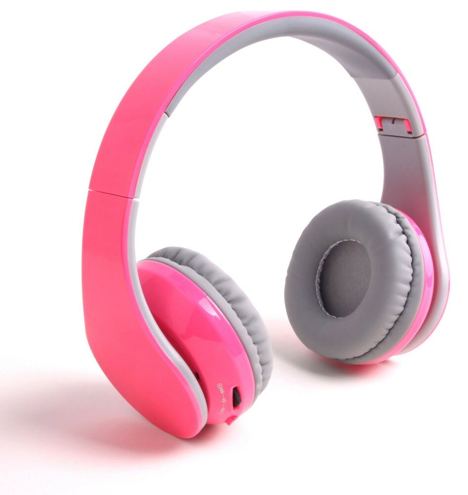 pink bluetooth headphones headset fit for all smart cell phones tablet pc laptop ebay. Black Bedroom Furniture Sets. Home Design Ideas