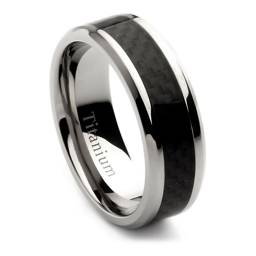 mens titanium wedding band with black carbon fiber inlay