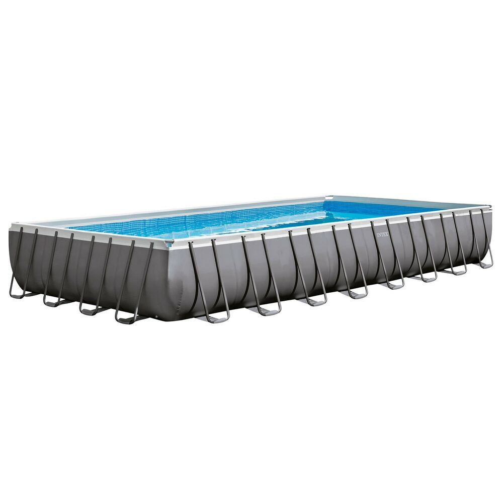Intex 32 x 16 x 4 3 foot ultra frame rectangular pool set w pump and ladder ebay for Intex rectangular swimming pool