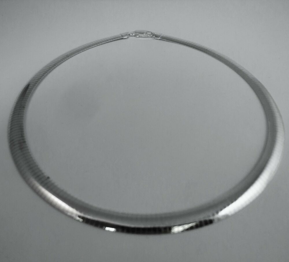 925 Silver Chain >> 16,18 inch, 8mm or 10mm Omega Necklace, Pure .925 Italian ...