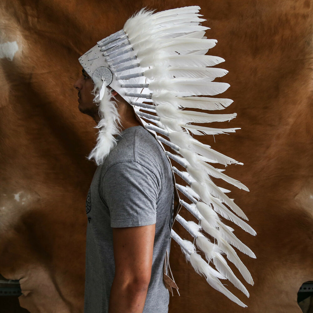 Chief indian headdress 90cm white feathers native american costume war