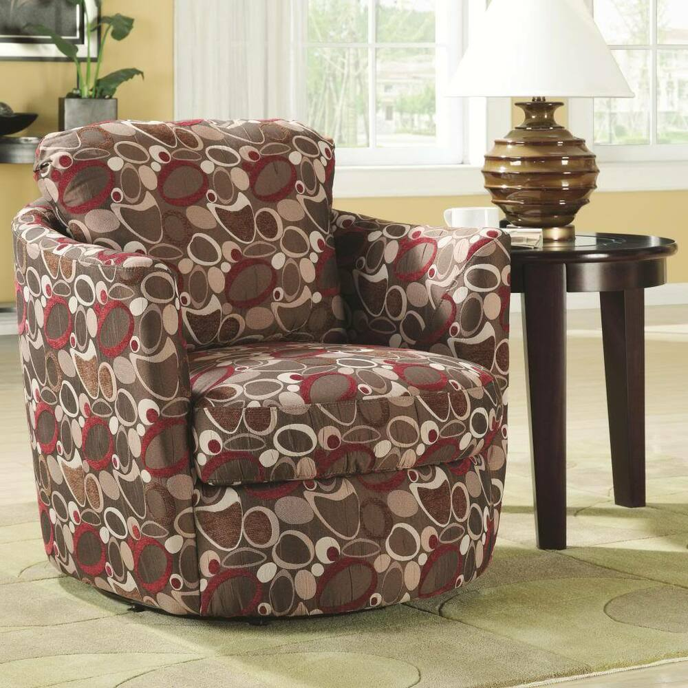 Upholstered Swivel Accent Chair With Oblong Pattern By
