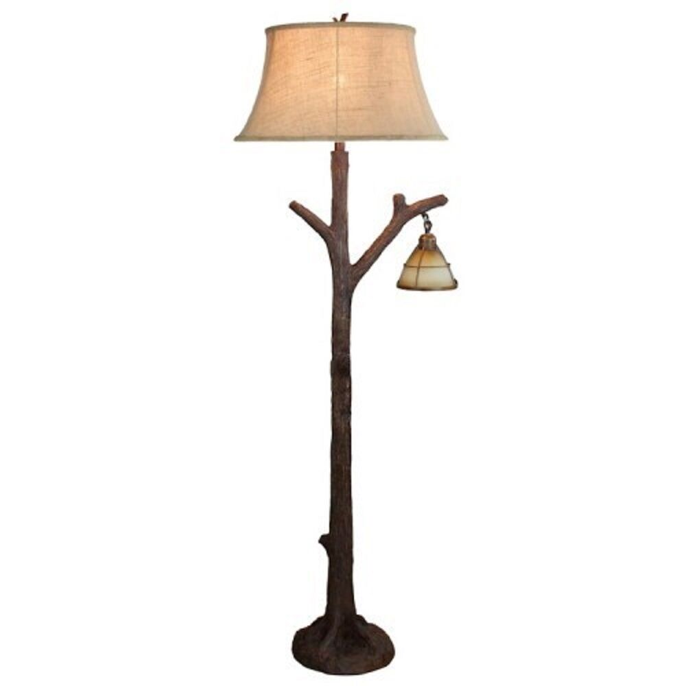 Tree Branch Floor Lamp Rustic Cabin Lodge Decor Glass
