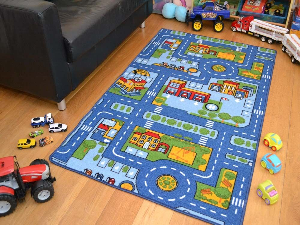 small extra large blue boys kids machine washable anti slip rugs play road cheap ebay. Black Bedroom Furniture Sets. Home Design Ideas