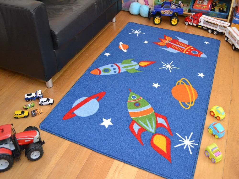childrens bedroom rugs small large boys space ships rockets washable non 11103