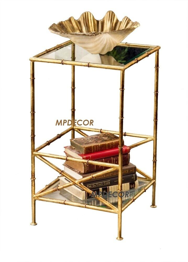 Iron bamboo side end accent table asian elegant hollywood for Bamboo side table