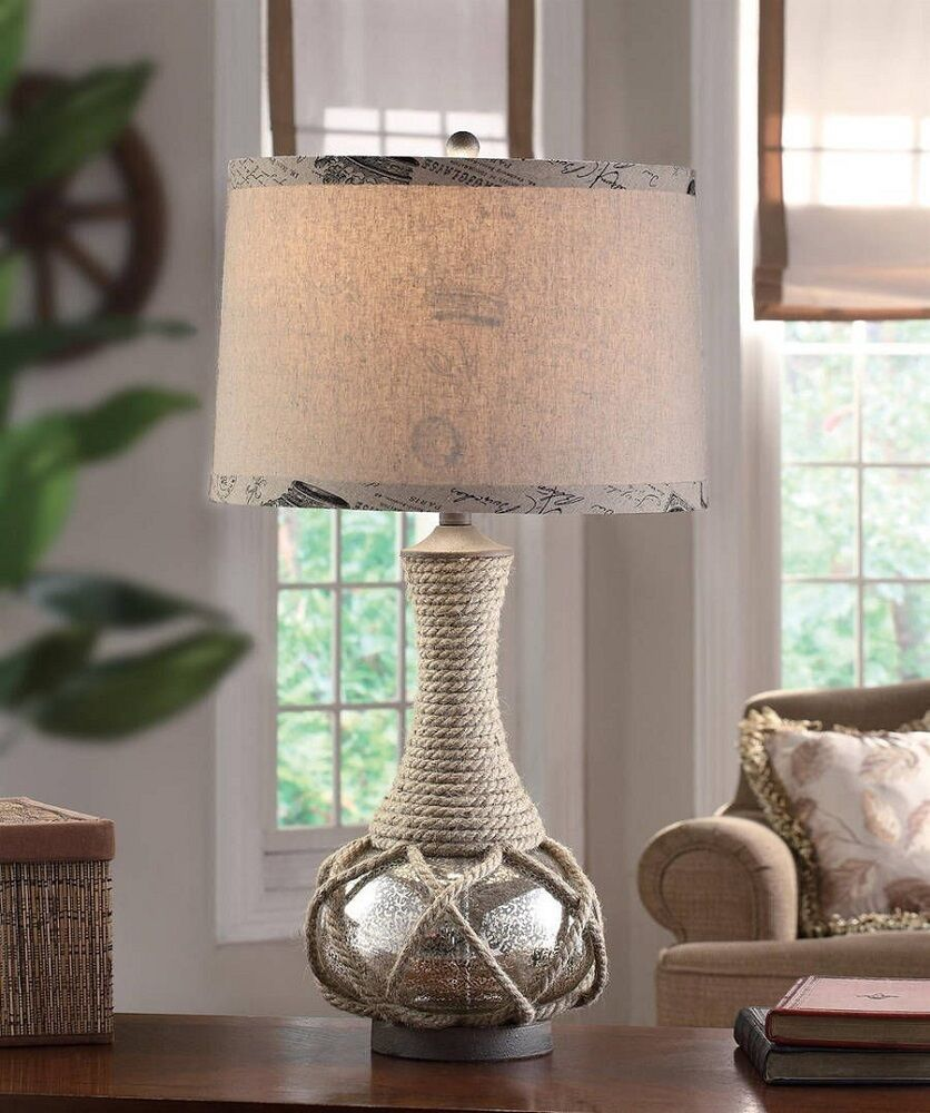Sea Lamps: Nautical Coastal Rope & Mercury Glass Table Lamp Freeport