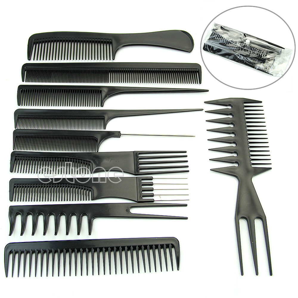 10Pcs Black Pro Salon Hair Styling Hairdressing Plastic ...