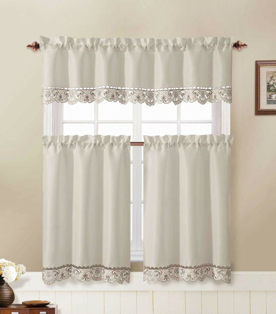 3 Piece Kitchen Window Curtain Set With Flower Embroidered