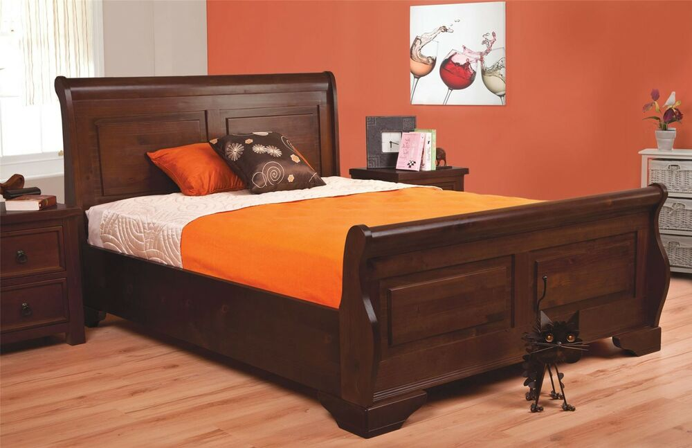 Solid Wood Sleigh Bed Mahogany King Size
