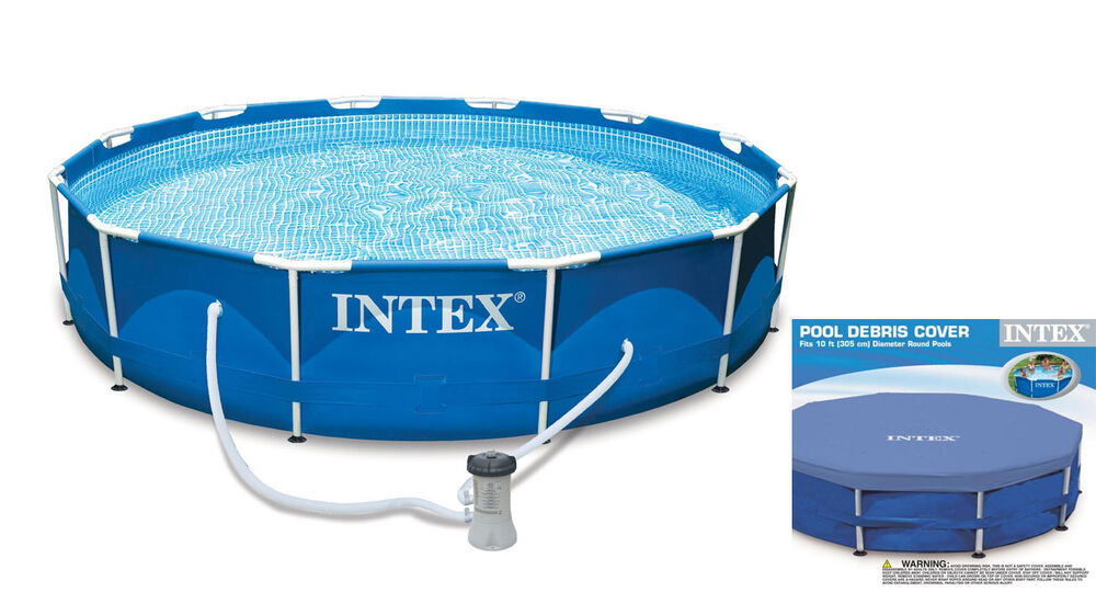 Intex 10 X 2 5 Foot Metal Frame Swimming Pool Set W Filter Pump Debris Cover Ebay