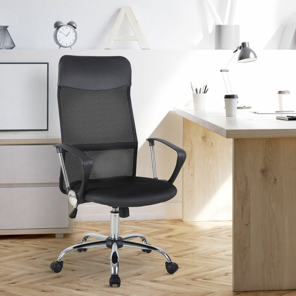 Office Chair Adjustable Computer Desk Chair High Back Mesh Seat | eBay