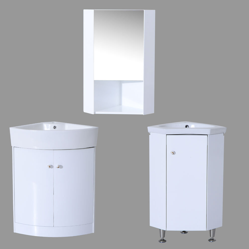 Corner Wash Basin With Cupboard : ... Unit High Gloss Ceramic 1/2 Door Basin Corner Mirror Storage eBay