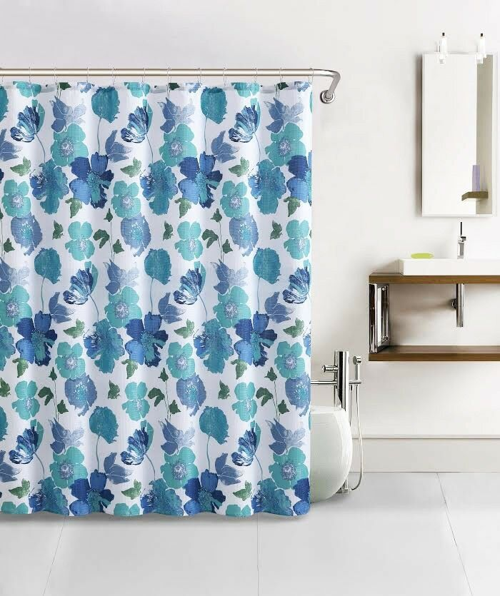 Teal Blue White Paint Like Floral Design Waffle Fabric Shower Curtain W Ho