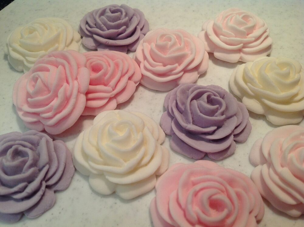 Edible icing sugar rose flower cupcake topper birthday for How to make edible cake decorations at home