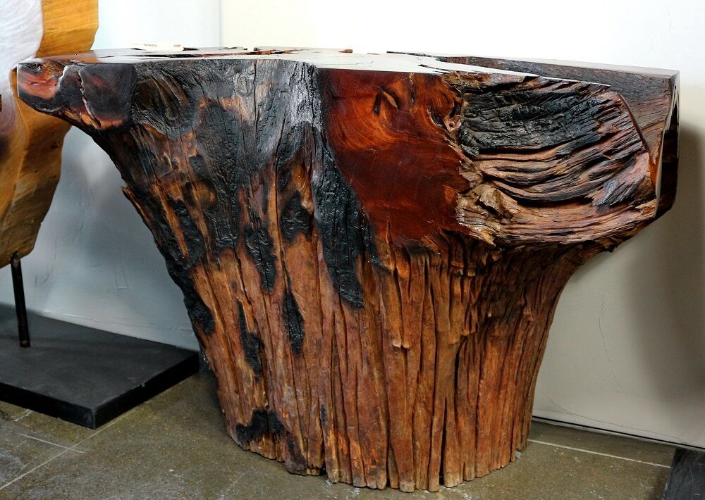 48 w console table natural free form single cut solid acacia wood dark finish ebay. Black Bedroom Furniture Sets. Home Design Ideas