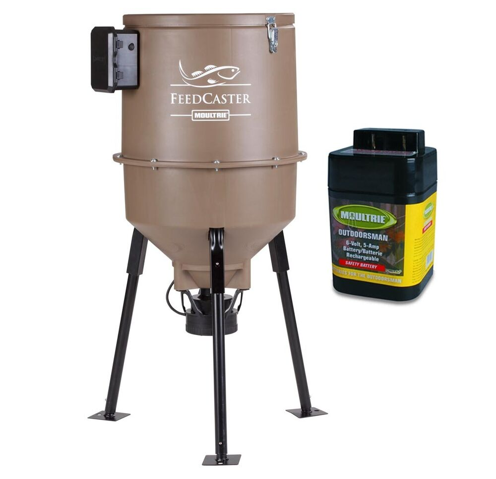 Moultrie 30 gallon feedcaster pro directional tripod fish for Automatic fish feeder walmart