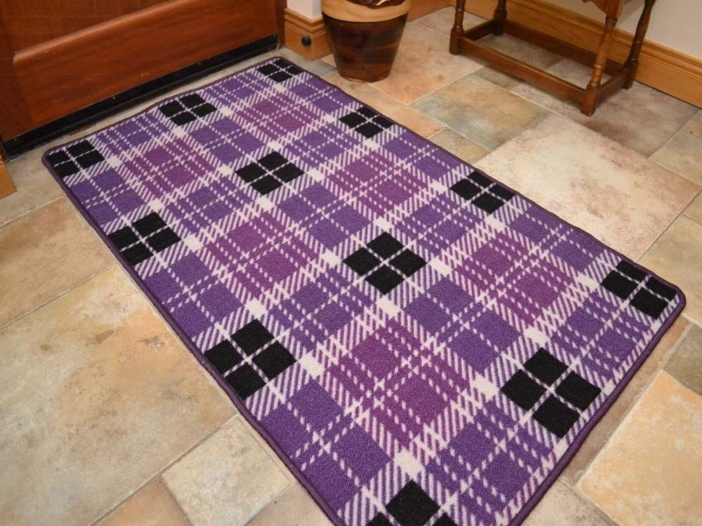 Small large purple tartan long hall runner kitchen floor for Small rugs for kitchen