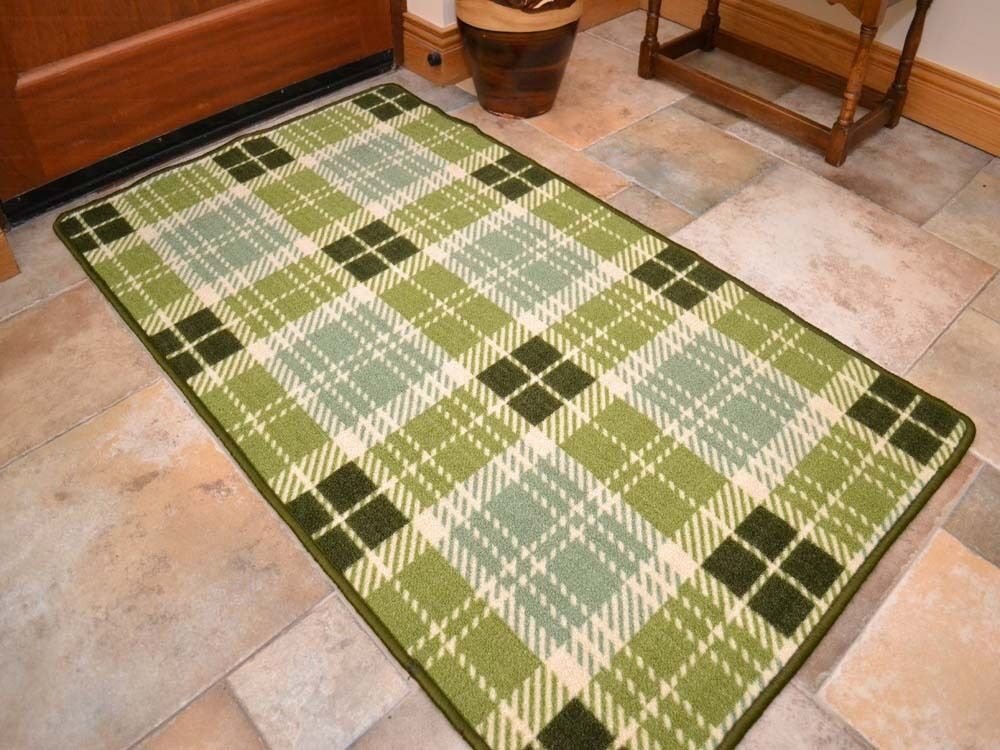 Small large green tartan long hall runner kitchen floor for Small rugs for kitchen