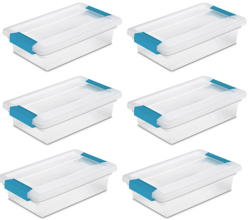 sterilite small file clip box clear storage containers w lid 6 pack 19618606 ebay. Black Bedroom Furniture Sets. Home Design Ideas