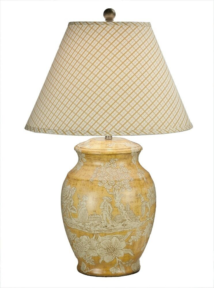 french country yellow toile table lamp cottage chic porcelain lamp 30. Black Bedroom Furniture Sets. Home Design Ideas