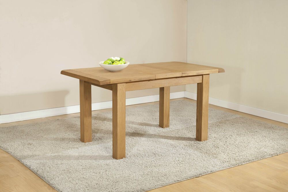 Burnham Solid Chunky Wood Rustic Oak Small Narrow Extending Dining Table EBay