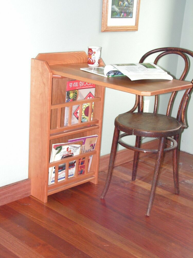 Fold Out End Table Desk Amp Magazine Rack Cherry For Rv
