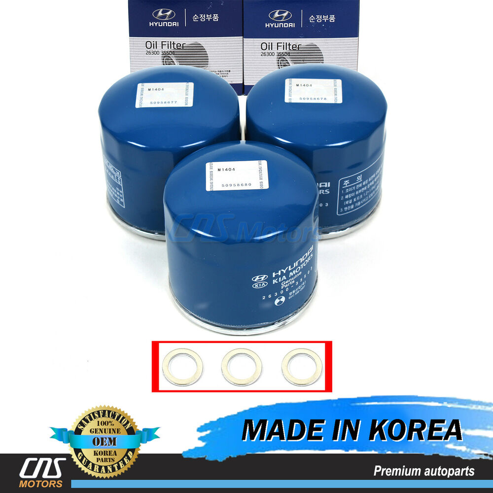 GENUINE Oil Filter Washers 3pcs For Hyundai Accent Elantra
