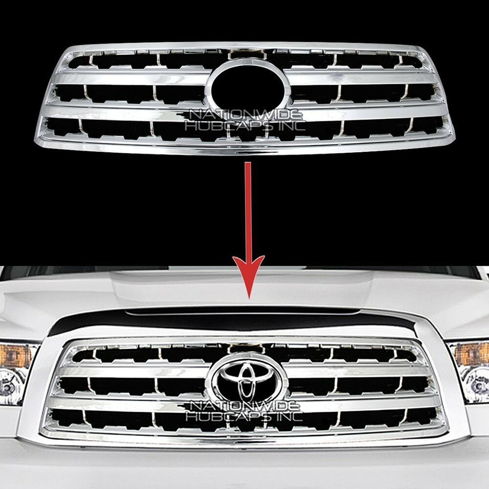 Fits 08 17 Toyota Sequoia Chrome Snap On Grille Overlay