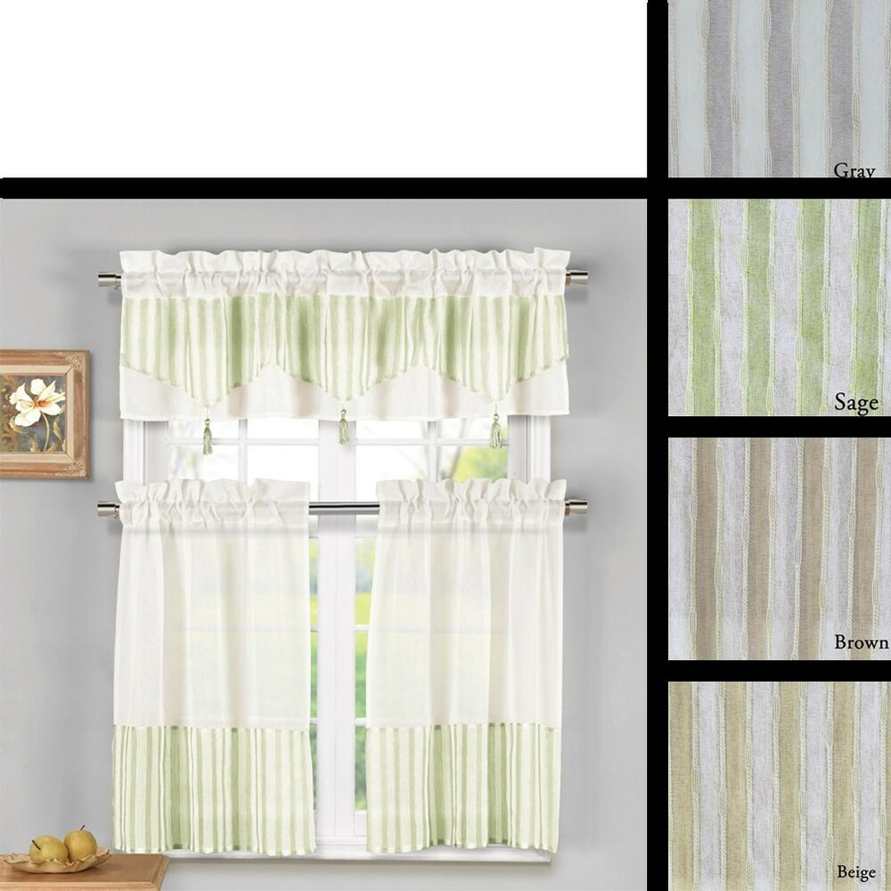 3 Piece Sheer Kitchen Window Curtain Set 1 Valance And 2 Tier Panel Curtains Ebay