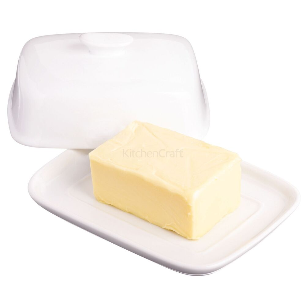 Kitchen Craft White Porcelain Butter Dish With Lid Ebay