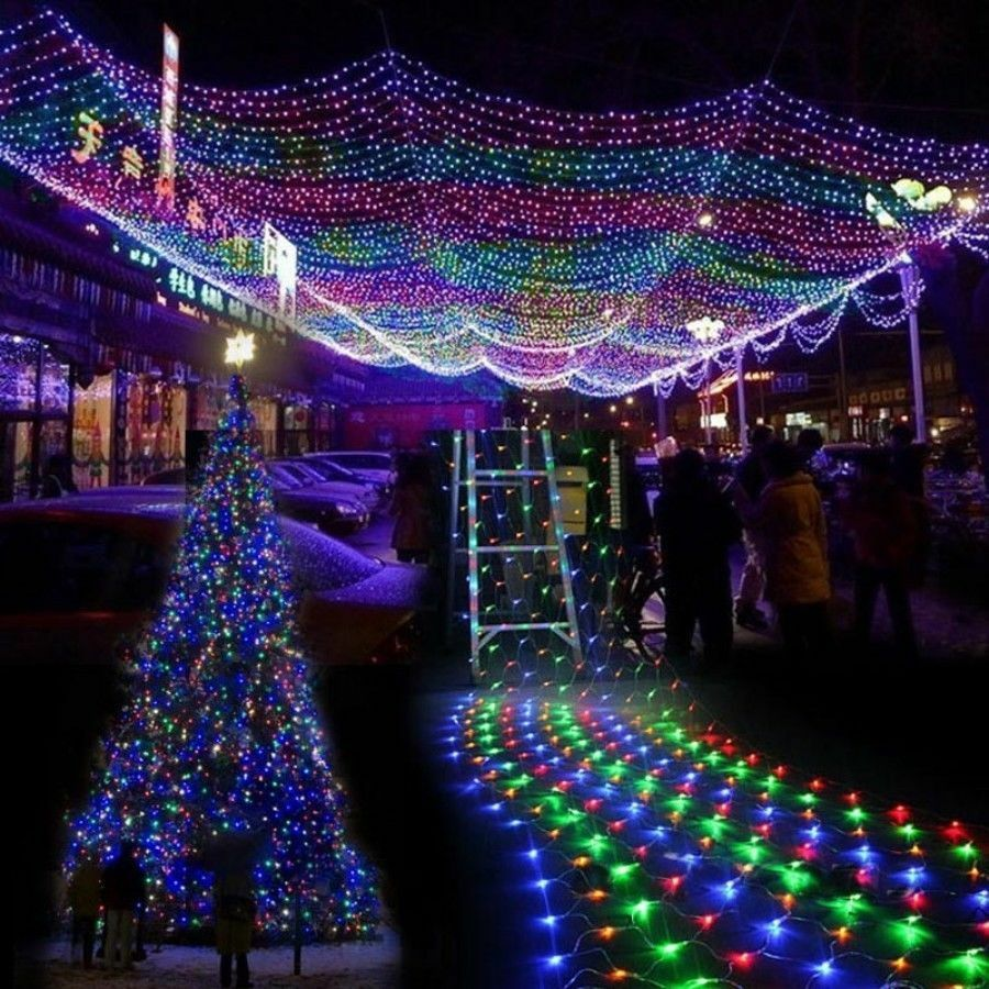 96 204 672 led bulbs mesh net string party christmas for Led christmas decorations