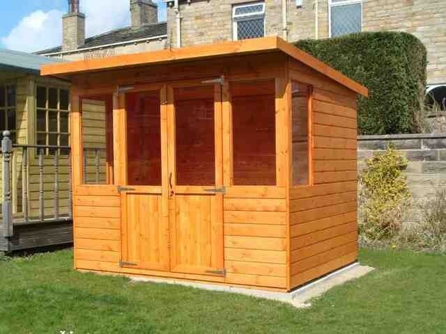 8x8 garden shed pent summerhouse 12mm finish t g ebay for Garden shed tab