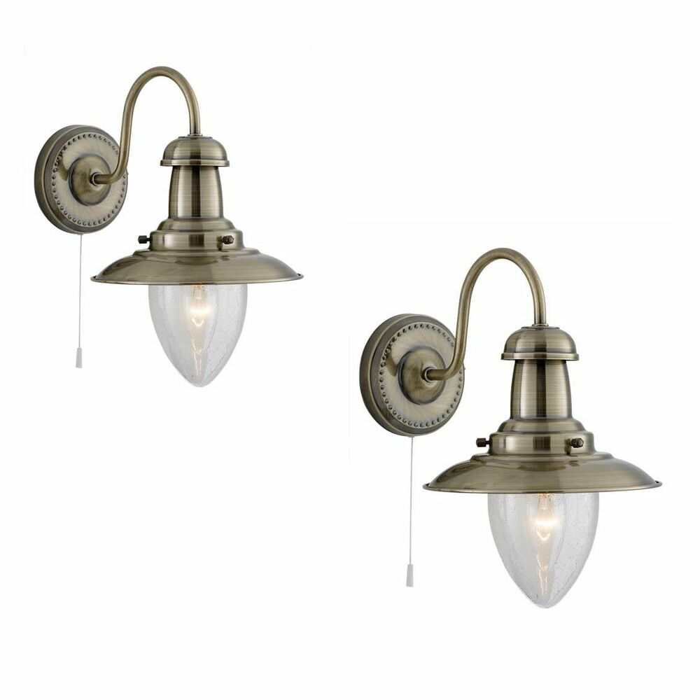 Pair Searchlight 5331 1ab Fisherman Antique Brass Wall