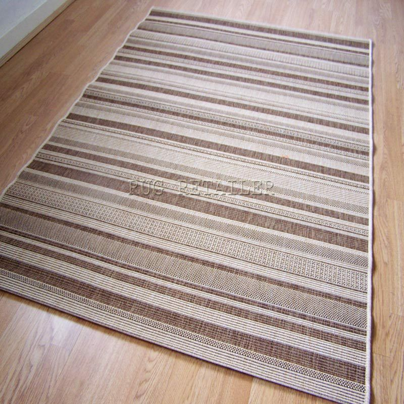 Stripes Brown Sisal Look Rugs / Kitchen Mats 160x230cm