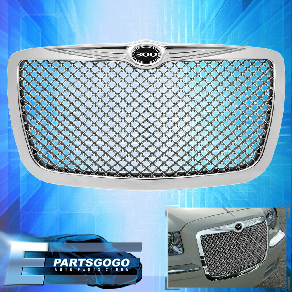 BENTLY STYLE STYLE MESH CHROME GRILLE W/ 300 EMBLEM FOR 05