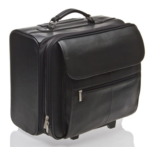 Bnwt italian leather laptop trolley case wheeled bag for Laptop cabin bag