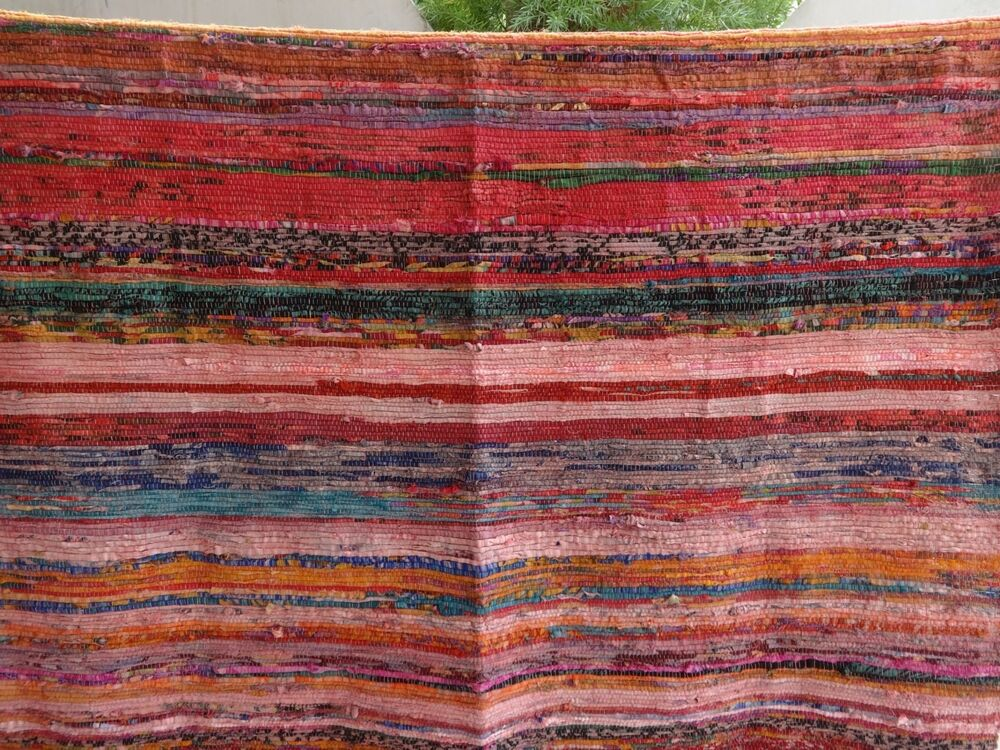 Vintage Rag Rug Old Fabric Yoga Mat Hand Loomed Pink Beach Throw Reversible Boho Ebay