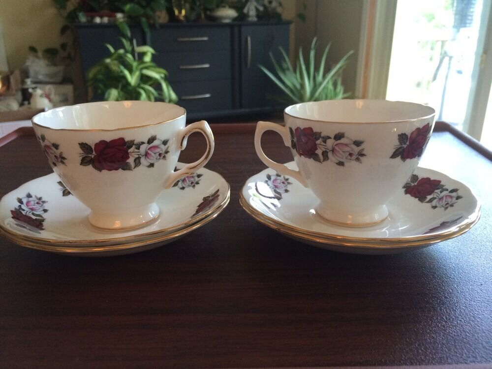 Pair Vntg Royal Vale Cup Amp Saucer Bone China Made In