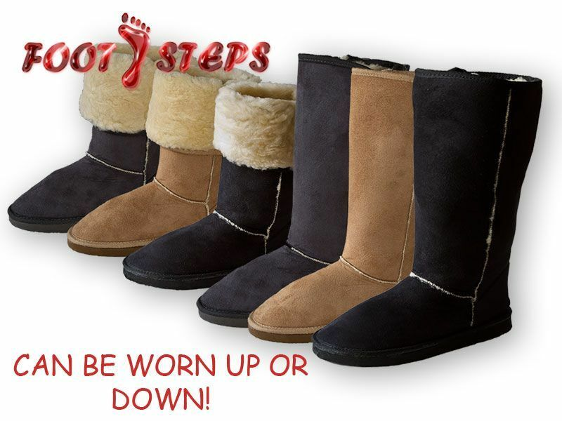 Ladies Coolers Tall Faux Suede Faux Sheepskin Fashion