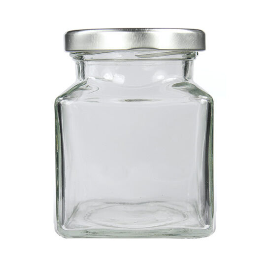100 small square glass jam jars 110ml with silver lids. Black Bedroom Furniture Sets. Home Design Ideas