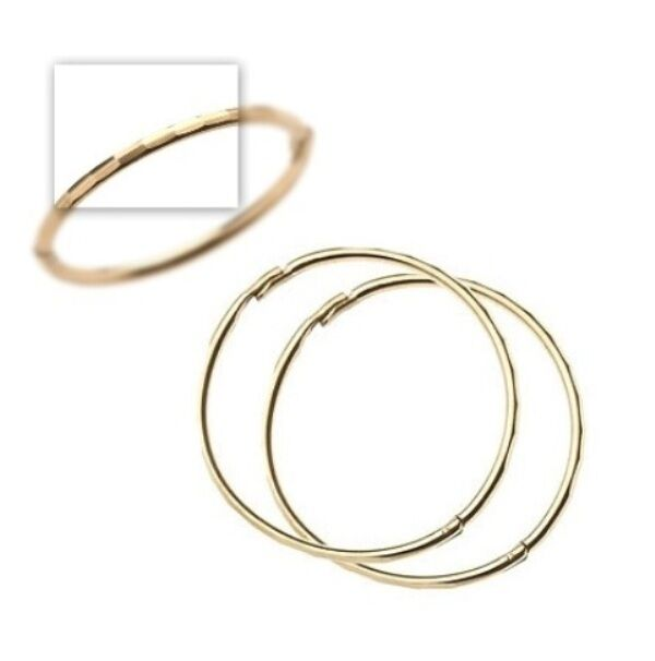 9ct Gold 22mm Large Faceted Hinged Hoop Sleeper Earrings
