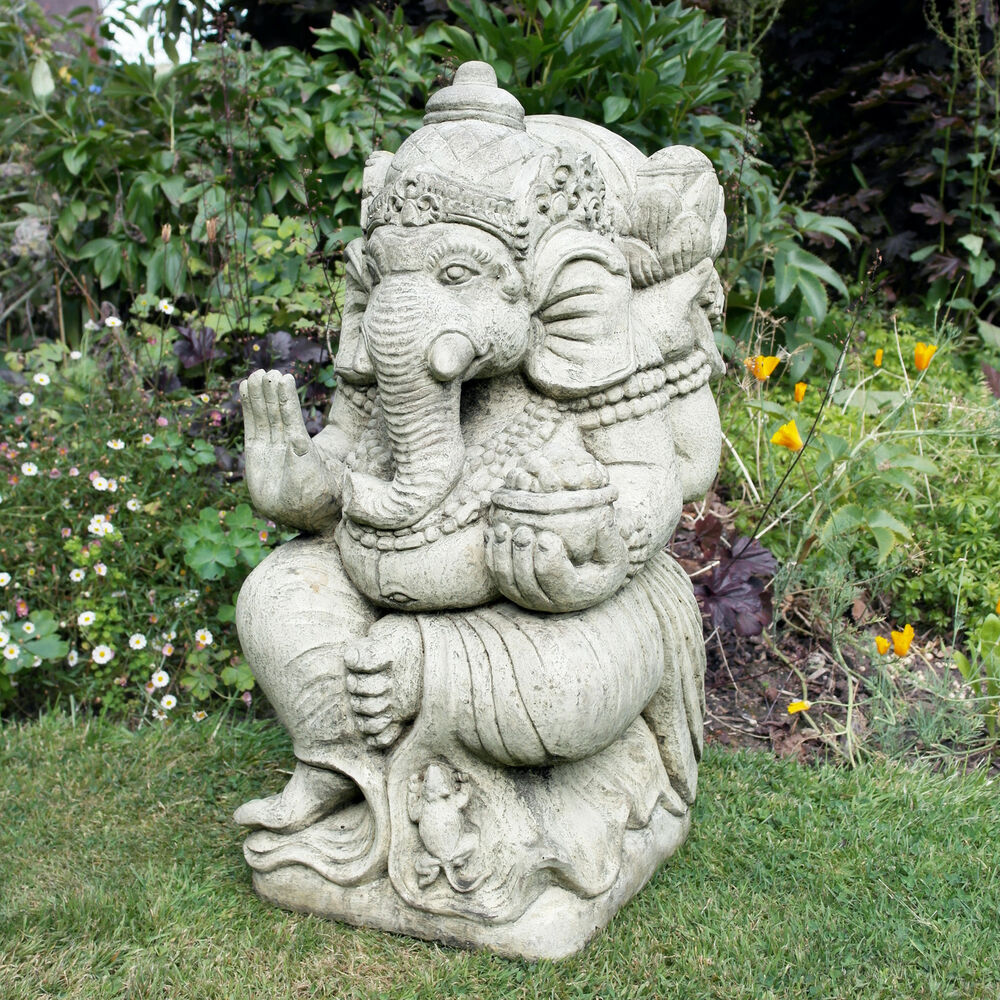 large garden statue ganesh stone buddha ornament ebay. Black Bedroom Furniture Sets. Home Design Ideas