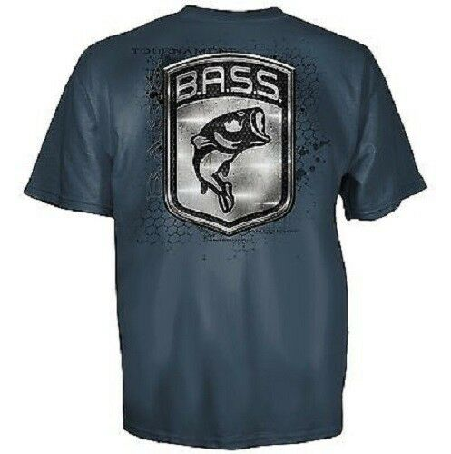Bassmaster bass fishing metal logo blue short sleeve t for Bass fishing shirt