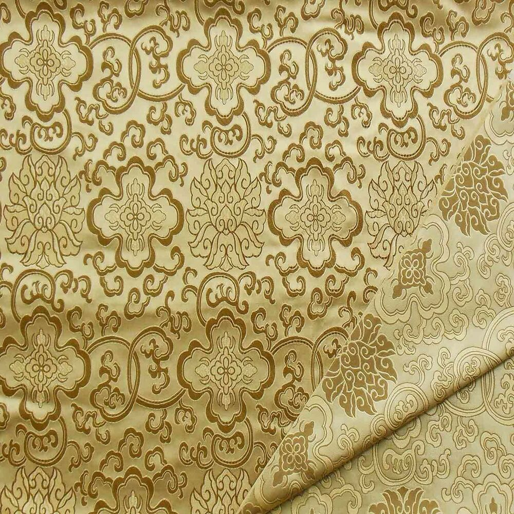 ... Chinese Brocade Fabric (Dull Gold w Wealthy Flower) cbs 2009 | eBay